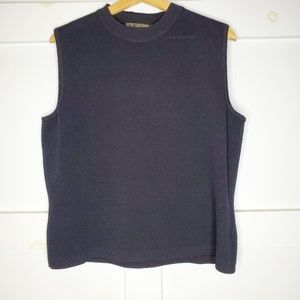 St. John Basics Black Sleeveless Sweater Large